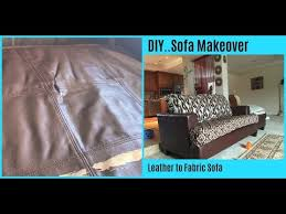 diy sofa makeover leather to fabric