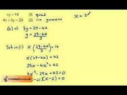 solving quadratic simultaneous