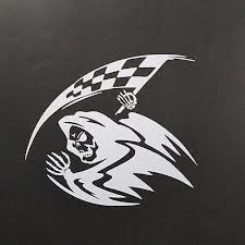 Grim Reaper Racing Checkered Flag Racecar Car Truck Laptop Vinyl Decal Sticker