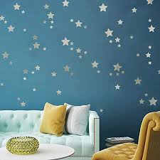 Amazon Com Levinis Silver Star Wall Decals 117 Removable Home Decoration Easy To Peel Stick Wall Stickers Metallic Vinyl Stars Wall Decor Sticker For Baby Kids Nursery Bedroom Home Kitchen
