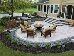 stairs firepit paver patio with