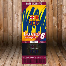 Barcelona Futbol Club Tarjeta Invitacion Cumpleanos Kit 2 000