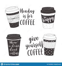 hand drawn lettering quotes about coffee stock vector