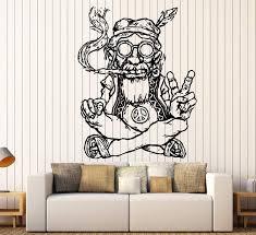 Vinyl Decal Wall Sticker Hippie In Glasses Smoking Weed Marijuana Peac Wallstickers4you