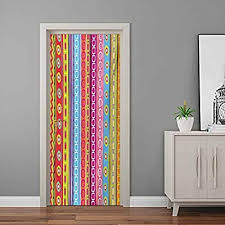 Amazon Com Striped Wall Murals Colorful Retro Stripes Circles Boho Pattern 90s Style Rainbow Art Print Self Adhesive Decal Modern Art Diy Home Decor Multicolor 35 4 W X 79 H Baby