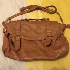 brown faux leather satchel purse