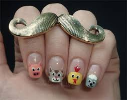 Cute Zoo Farm Animals Nail Art Designs Ideas 2013 2014 Fabulous Nail Art Designs