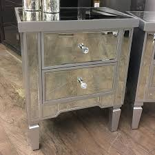 set of georgia silver mirrored chest of