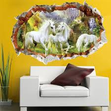 Unicorn In Dreamland Forest 3d Window Smashed Wall Sticker Decorative Poster For Kids Baby Nursery Bedroom Decal Decor Mural Wall Sticker Decoration Muraledecorative Poster Aliexpress