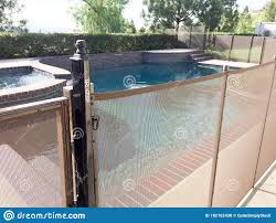 Safety Fence At Swimmimg Pool Stock Photo Image Of Blue Relaxation 182162430
