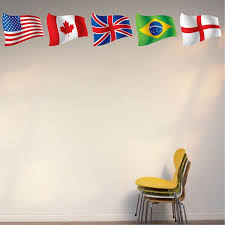 Country Flags Of The World Wall Decal Geography Educational Decor Kids American Wall Designs