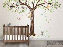Autumn Tree Giant Size Wall Decal With Owl Birds Cat Squirrel Removable Wall Wall Sticker For Nursery Bedroom Nursery Wall Stickers Autumn Trees Wall Decals