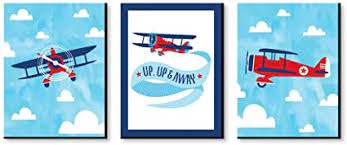 Amazon Com Big Dot Of Happiness Taking Flight Airplane Vintage Plane Baby Boy Nursery Wall Art And Kids Room Decorations Gift Ideas 7 5 X 10 Inches Set Of 3 Prints Toys Games