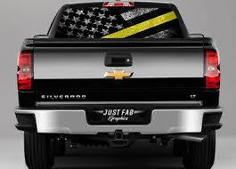 Thin Yellow Line Tow Lives Matter American Flag Truck Rear Window Decal Perf Ebay