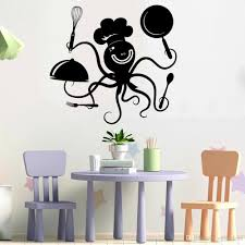 Positive Octopus Chef Wall Decal Kitchen Cute Pattern Vinyl Wall Stickers Decor Restaurant Home Decoration For Nursery Wall Accents Stickers Wall Adhesives From Joystickers 15 82 Dhgate Com