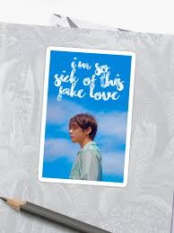 bts taehyung fake love lyric quote sticker by ksection redbubble