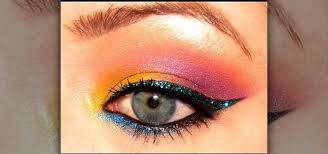 colorful tropical 80 s eyes with makeup