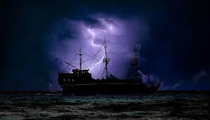 sailing boat purple lightning