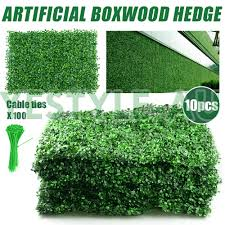 10pcs Artificial Boxwood Hedge Fake Vertical Garden Green Wall Ivy Fence Mat Ebay