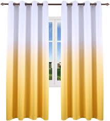 Amazon Com Ombre Yellow Curtains For Bedroom Grommet Thermal Insulated Gradient Curtains For Kids Room Nursery Set Of 2 Curtain Panels 52 X 84 Inch Kitchen Dining