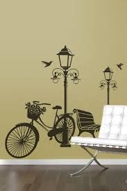 Vintage Bicycle Street Lamp Travel Wall Decal Lg 32 Colors 6 Sizes Walltat Com