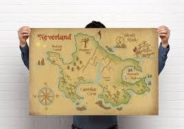 Off To Neverland Escape From Winter With This Neverland Map Wall Art Neverland Map Peter Pan Nursery Neverland Nursery