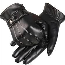 2020 pure black leather gloves mens