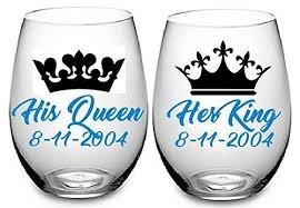 Amazon Com King And Queen Wine Glass Decals Choose Colors Add Name And Date Set Of 2 Metallic Chrome And Glitter Vinyl For Wine Glasses Yeti Cups Wedding Gift Etc Glass Not Included