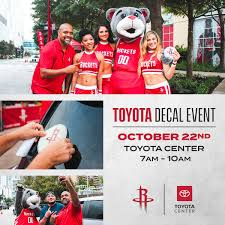 Houston Rockets On Twitter Drive Up To Toyotacenter On October 22nd From 7 10am And Receive A Free Rockets Car Decal Courtesy Of Toyota The Event Will Also Include Officialccd Clutchthebear Rockets