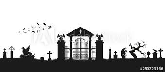 Black Silhouette Of Gothic Cemetery Medieval Architecture Graveyard With Gate Crypt And Tombstones Halloween Scene Buy This Stock Vector And Explore Similar Vectors At Adobe Stock Adobe Stock