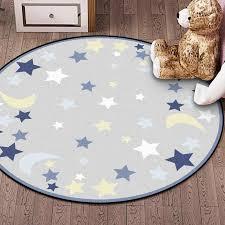 Children Round Rug Blue Grey Star Moon Printed Kids Rug Room Velvet Non Slip Mat Carpet Soft Bedroom Unicorn Kids Pink Rug Carpet Aliexpress