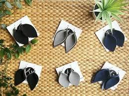black suede leather leaf earrings