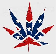 Confederate Style Cannabis Pot Leaf Decal Sticker Decalmonster Com