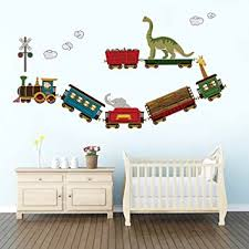 Amazon Com Decalmile Animal Train Wall Decals Dinosaur Elephant Giraffe Wall Stickers Removable Kids Room Wall Decor For Baby Nursery Childrens Bedroom Playroom Baby