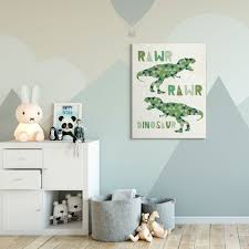 Shop The Kids Room By Stupell Rawr Blue Green Dinosaur Kids Word Design Canvas Wall Art Proudly Made In Usa Overstock 29129165