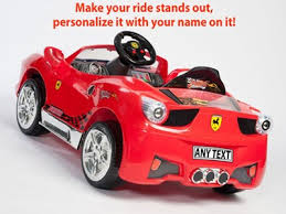 Red Ferrari Style Ride On Toy Car With Remote Control Custom Kids Name Decal 475414714
