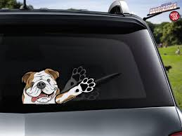 Otis Waving Paw Bulldog Decal Wipertag For Rear Windshield Wiper Wipertags