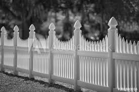 Monochrome White Scalloped Vinyl Picket Fence Buy This Stock Photo And Explore Similar Images At Adobe Stock Adobe Stock