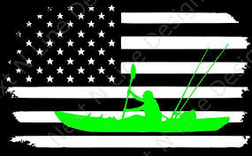 Fishing Kayak Fishing American Flag America Window Etsy