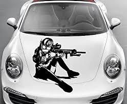 Vehicle Auto Car Decor Vinyl Decal Art Sticker Anime Manga Girl Sniper Rifle Shooting Removable Design For Hood 1092 Amazon Com