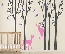 Deer Forest Bird Tree Wall Decals Wall Arts Nursery Kids Decor Idecoroom