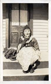 """Woman in Halloween mask sits on a porch   """"Myrtle Thompson"""".…   Flickr"""