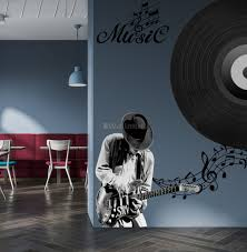Black Music Record And Rock Music Notes Wall Decal Sticker Wall Decals Wallmur