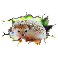 Wall Stickers Cute Hedgehog Animal Hall Smashed Decal 3d Art Vinyl Room F954 Home Garden Decor Decals Stickers Vinyl Art
