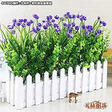Situmi Artificial Fake Flowers Emulation Pot Plants Indoor Green Sik Fence Decorations The Tulip Kit Purple Amazon Co Uk Kitchen Home