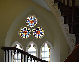 stained glass windows and stairway