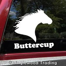 Horse Head V6 With Personalized Name Vinyl Decal Sticker Equestrian Farm Riding Dressage Equine Profile Silhouette Minglewood Trading
