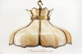 1900s large slag glass petals chandelier