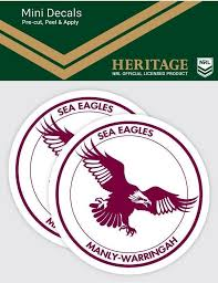 Manly Sea Eagles Nrl Set Of 2 Mini Heritage Logo Decals Car Stickers Guy Stuff