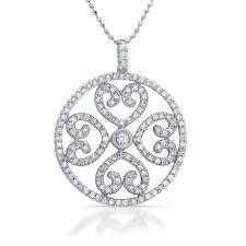 14k white gold diamond heart medallion